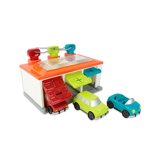【美國 B.Toys 感統玩具】藍綠紅車庫 BT2581Z