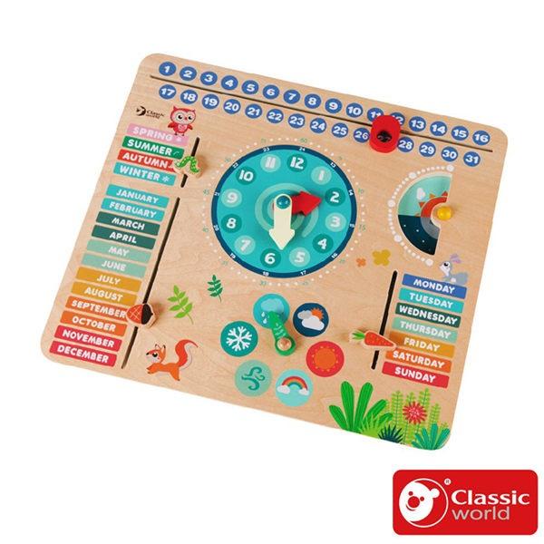 【德國 classic world 客來喜】經典木玩-森林時間英文學習拼板 CLA54211