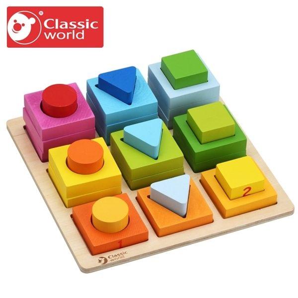 【德國 classic world 客來喜】經典木玩-幾何算數遊戲組 CLA3538