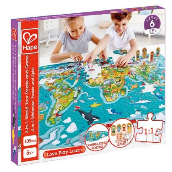 2021新貨 SF00815 2合1世界拼圖遊戲組