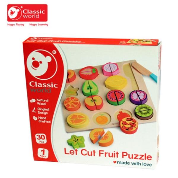 【德國 classic world 客來喜】經典木玩-水果切切拼圖遊戲 CLA6500