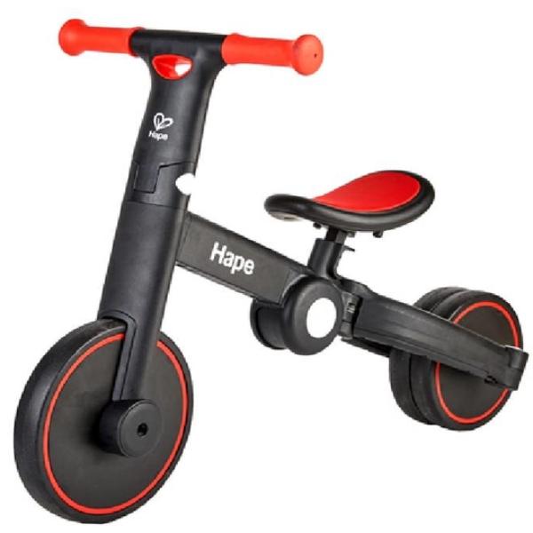 【德國 Hape】精緻童玩 - 多功能滑步車 (黑紅)